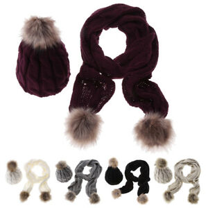 Winter-Women-Knitted-Wool-Fur-Ball-Casual-Set-Scarf-Gloves-Beanie-Hat-Outdoor