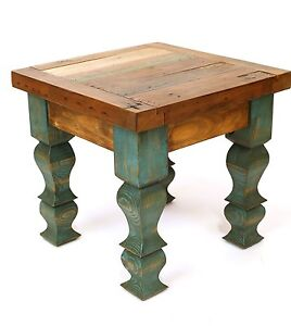 Rustic-End-Table-Turquoise-Mexican-18x18x17-Furniture-Primitive-Old-Door-Antique