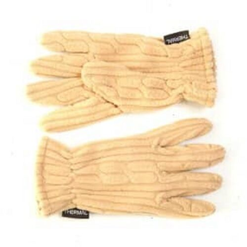 Ladies Gloves Beige Thermal Fleece One Size
