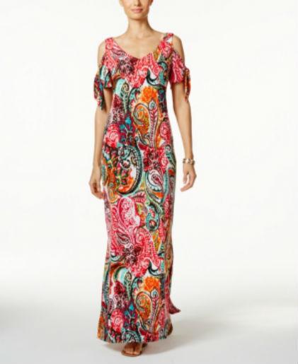 d00f133c4ea MSK Woman  S Cold-shoulder Paisley Print Maxi Dress Size 4 for sale online