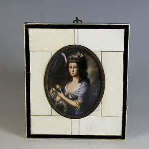 Miniature-Portrait-of-German-Lady-signed-19th-Century