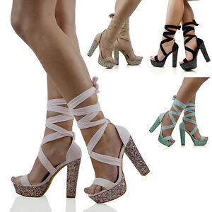 dda7987ee79 Womens Lace Up Ankle Tie Block Glitter High Heel Ladies Platform ...