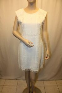 NEW-BCBG-MAX-AZRIA-WHITE-GAUZE-LACE-SLEEVELESS-DRESS-VCG6L794-M593-SIZE-2