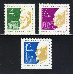 Russia-1963-MNH-Sc-2803-2805-Mi-2820-2822-Louis-Pasteur-I-Mechnikov-A-Calmette