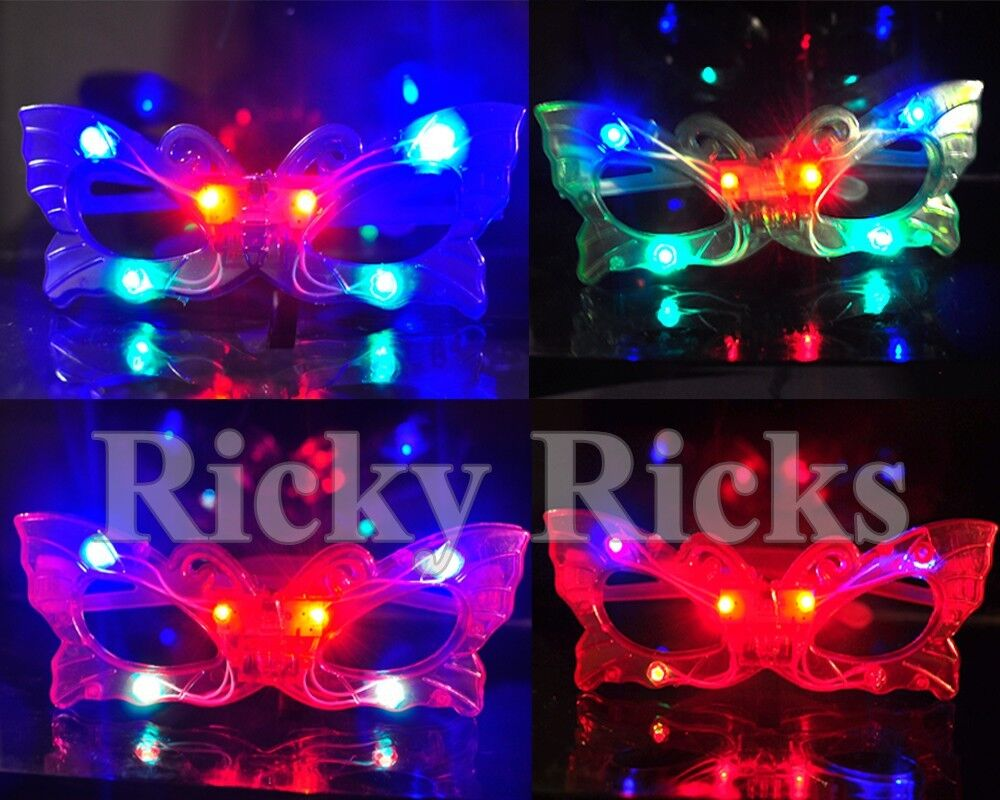 100 PCS Light Up Butterfly Glasses LED Flashing Blinking Sunglasses Rave EDC