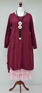 "WOMAN ITALIAN LINEN OVERSIZED PLAIN A-LINE LONG DRESS*MINT*BUST UP TO 50/"" ITALY"