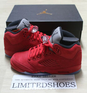 fc0bba58e6125a NIKE AIR JORDAN 5 V RETRO BG GS RED SUEDE BLACK 440888-602 Youth Big ...