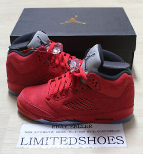 41dab68d34a NIKE AIR JORDAN 5 V RETRO BG GS RED SUEDE BLACK 440888-602 Youth Big ...