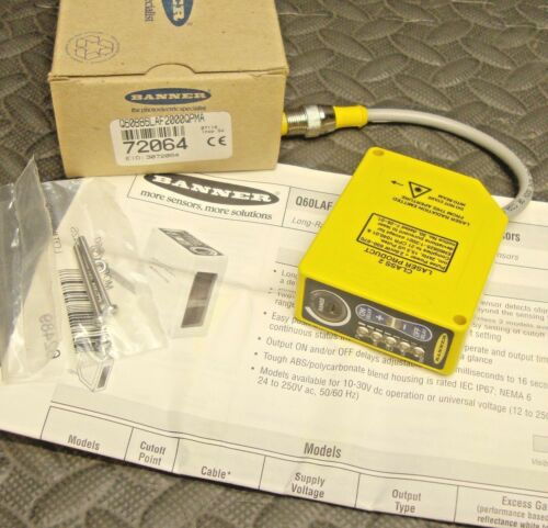 NEW Banner Q60BB6LAF2000QPMA Q60LAF Laser Adjustable Field Sensor