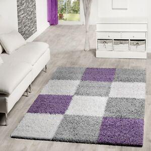 moderner hochflor teppich karo muster shaggy zottel teppiche lila grau creme ebay. Black Bedroom Furniture Sets. Home Design Ideas