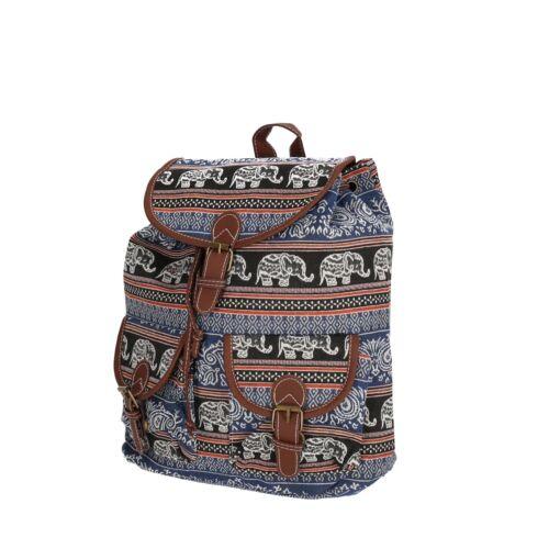 Rucksack Shopper Damen NEU Canvas Freizeit Back Pack Citybag Elefant Tier Indien