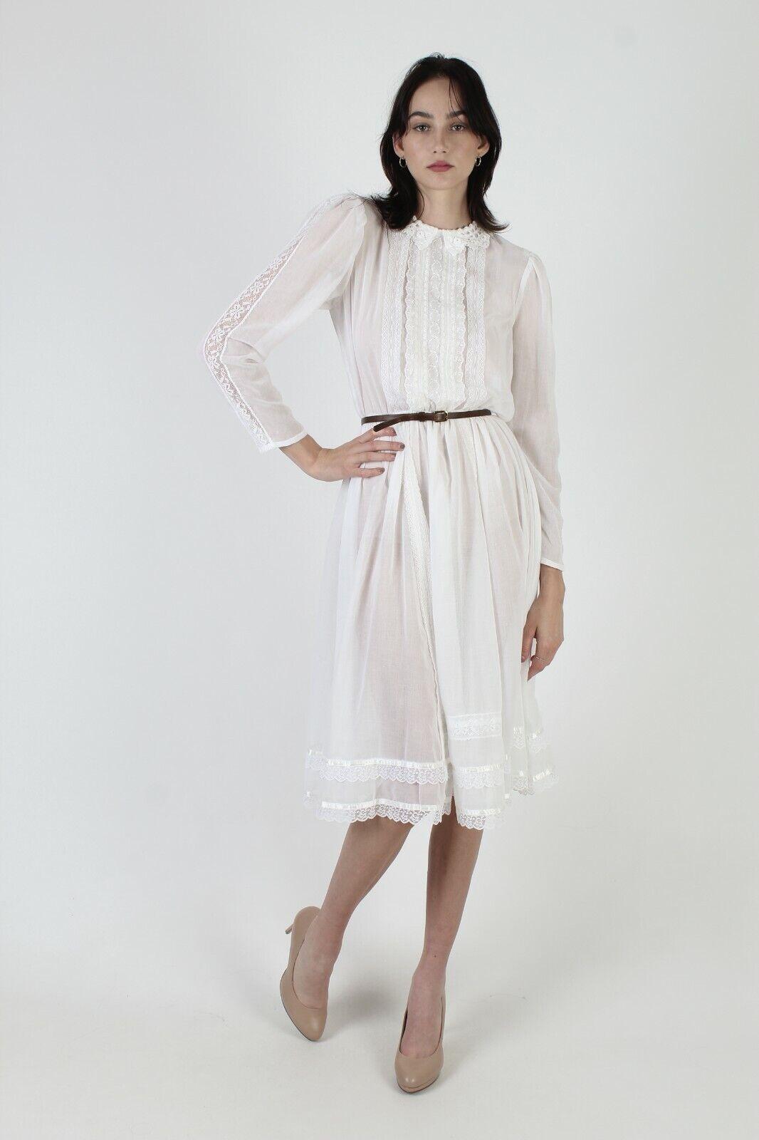 Vintage 70s Gunne Sax Dress Sheer White Crochet L… - image 4