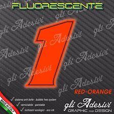 Adesivo Stickers NUMERO 1 moto auto cross gara Rosso FLUORESCENTE 5 cm