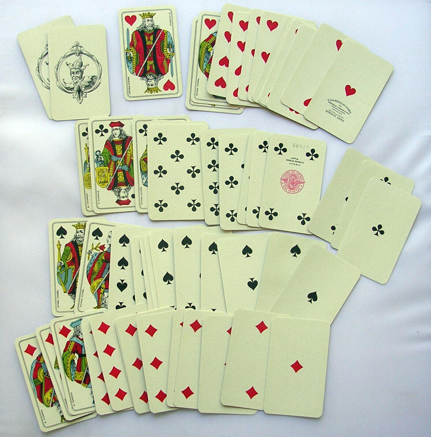 VINTAGE BARAJA JUEGO NAIPES COMPLETO PLAYING CARDS BERTRAND DOMEC BUENOS AIRES
