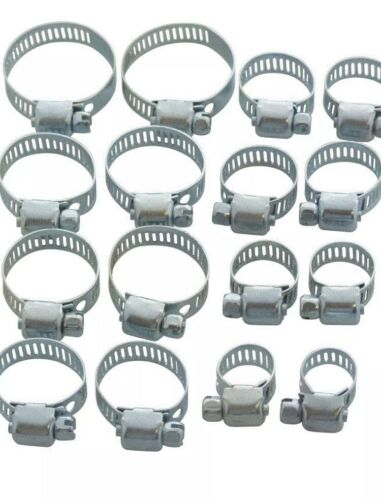 10 pcs  Assorted Jubilee Steel Hose Clamp Fuel Pipe Clips Set 10-27mm
