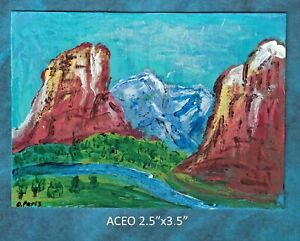 Original-ACEO-Abstract-mountains-miniature-acrylic-painting-not-framed