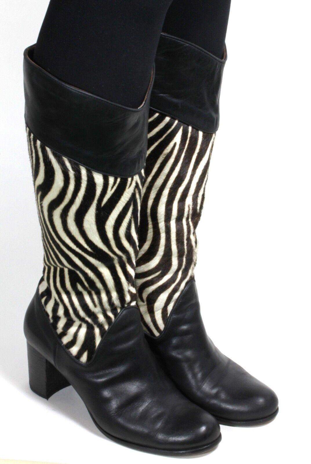 Damenstiefel Vintage Stiefel Grunge Gothic Zipper Rockabilly Kuhfell Punk 39