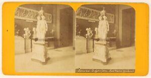 Museo Del Louvres Scultura Parigi Francia Foto Stereo PL56L2n Vintage Albumina