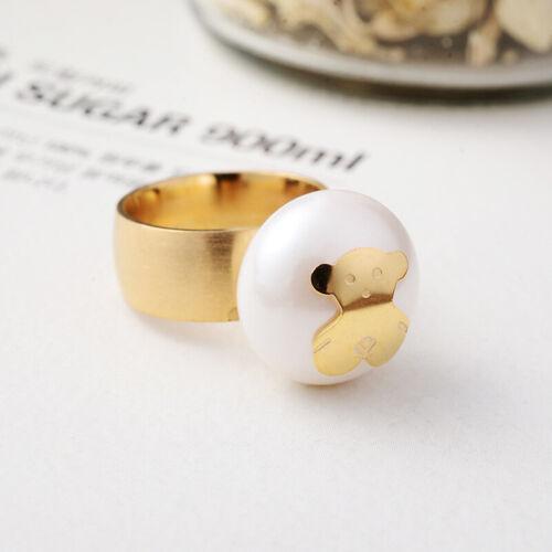 Cartoon Gold Plated Bear Bead Men Women Wild Ring Titanium Steel Jewelry Gift