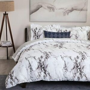 3PC-White-Marble-Printed-Duvet-Cover-Set-No-Comforter-Bedding-Set-Queen-King