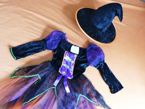 Petite sorcière sorcières COSTUME avec CHAPEAU hexenhut violet orange noir 98-104-116-122-128