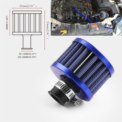 12MM Blue Round Mini Oil Air Intake Crankcase Vent Valve Cover Breather Filter