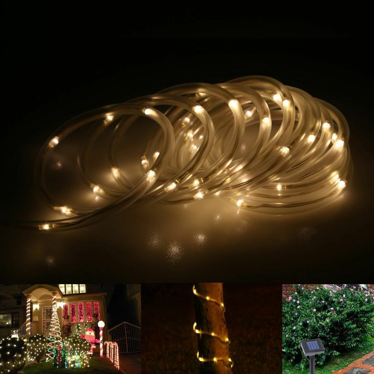 solar rope tube lights led string strip waterproof outdoor garden 100leds ebay. Black Bedroom Furniture Sets. Home Design Ideas