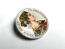Frankfurter Taler um 1860 ° Silber Brosche ° Vereinsthaler mit EMAILBILD ° Rar!