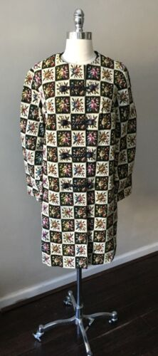 Tapestry Double Breasted Vintage 60s Mod Gogo Flor