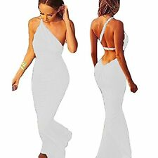 US Women Deep V Backless One Shoulder Strap Evening Party Maxi Dress Ball Gown S
