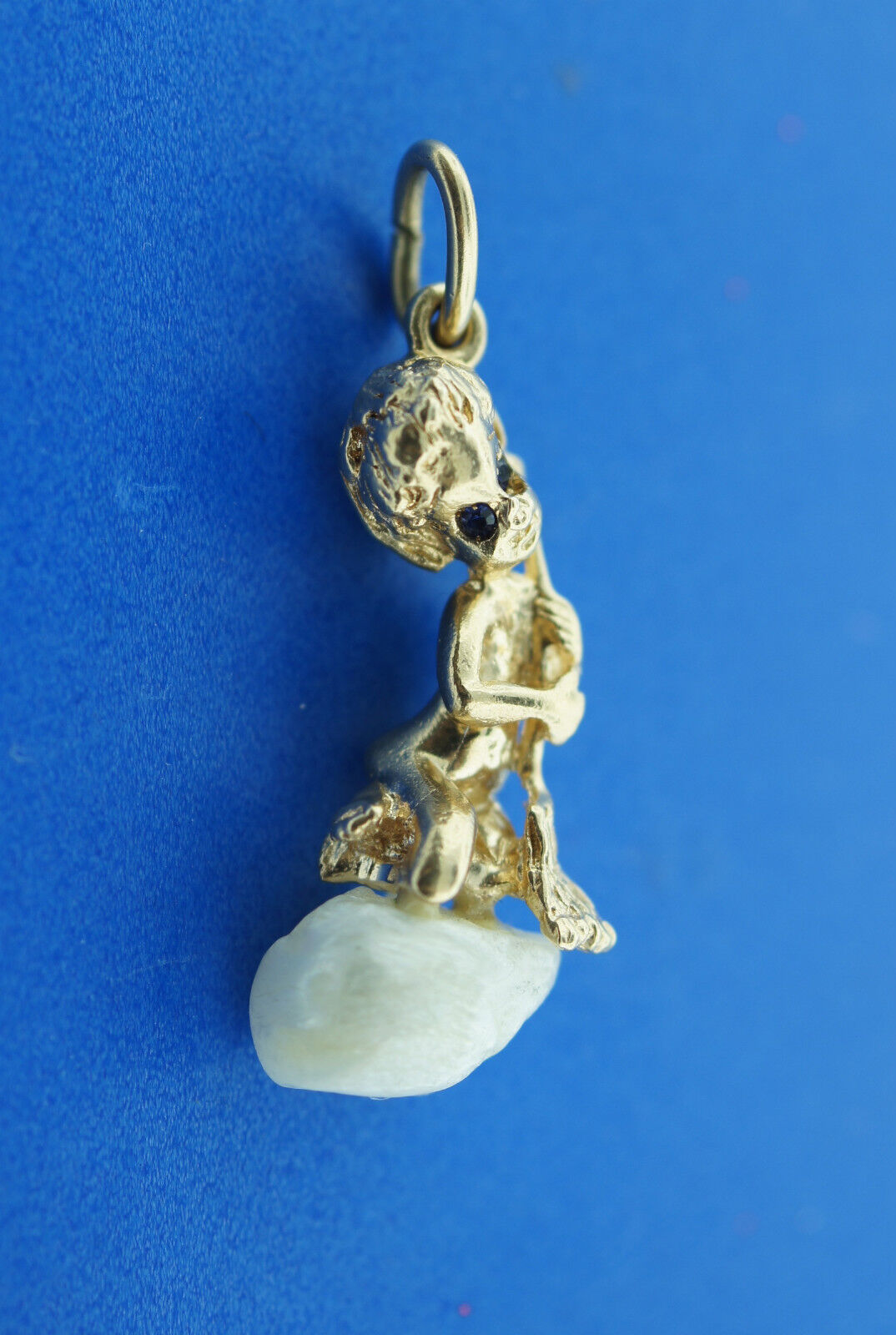 RUSER ADORABLE 14K gold & PEARL PENDANT ANGEL THEMED JEWELRY BABAY WITH BROOM