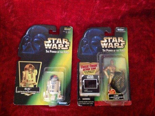 2 Star Wars The Power of the Force Action Figures - C3PO & R2-D2 new