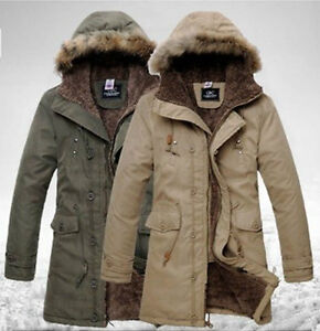 Men&amp039s Fashion Hooded Faux Fur Winter Long Coat Outerwear Warm