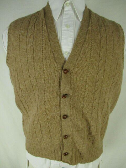 McGeorge Vtg Mens Beige Shetland Wool Cardigan Vest 44 Scotland Made