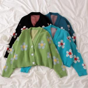 Women-Sweater-High-Elastic-Preppy-Style-Flower-Slim-Sexy-Cardigan-V-Neck-Knit