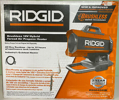 New Ridgid Hybrid 18-Volt 60K BTU Forced Air Propane Portable Heater R8604242B