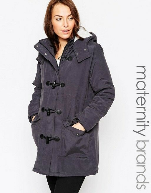 Mamalicious Hooded Maternity bluee Duffle Coat UK Size S (fits 8-10) RRP  BNWT