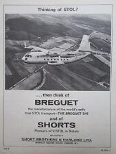 11/1964 PUB SHORT BROTHERS HARLAND BREGUET 941 STOL TRANSPORT ORIGINAL AD