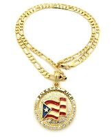 Iced Out Puerto Rico Flag Pendant 5mm/24 Figaro Chain Necklace Xsp085
