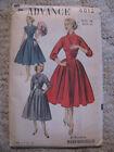 Vintage 1952 Women's dress w/full skirt & button front-Advance Pattern #6012