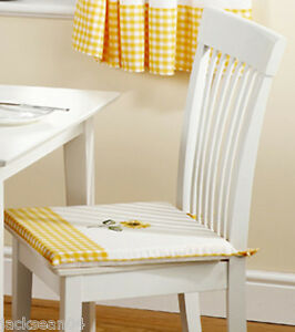 Sunflower gingham yellow 16x16 seat pad to match kitchen for 16x16 kitchen designs