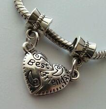Silver Best Friend Heart Dangle Slider Bead Fits European Style Charm Bracelet