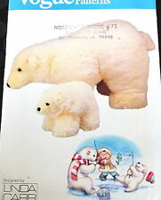 "Vogue Linda Carr Stuffed animal craft pattern POLAR BEAR 14"" & 7"" mom and baby"