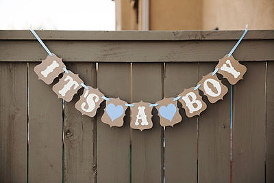 It's A Boy Baby Shower Bunting + 24 PCS blue with bear bottle