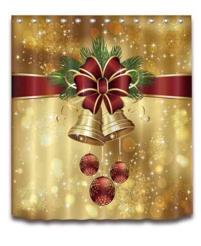"60//72//79/"" Bathroom Waterproof Fabric Shower Curtain /&Hooks-Xmas Jingle Bells"