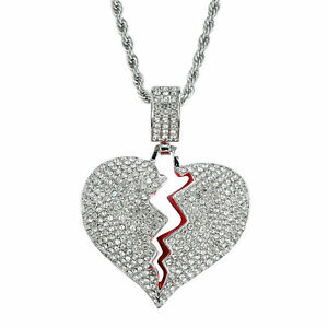 Fashion-Stainless-Steel-Broken-Heart-Pendant-3mm-24-034-Rope-Chain-Necklace-Jewelry