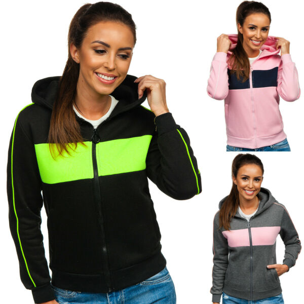 Kapuzenpullover Sweatjacke Sweatshirt Pullover Motiv Hoodie Damen BOLF Kapuze