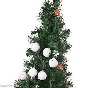 1packet white christmas balls foam snowflake pattern paillette tree decoration ebay. Black Bedroom Furniture Sets. Home Design Ideas