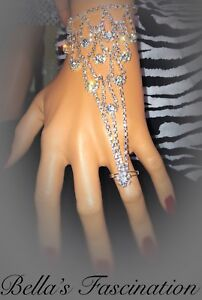 Crystal-Rhinestone-Slave-Bracelet-Ring-Silver-Bridal-Hand-Jewelry-Drop-Chain