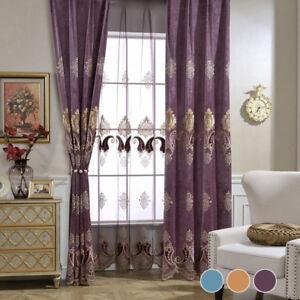 European-Curtains-Applique-Blackout-Velvet-Cloth-Drape-Transparent-Sheer-1-Piece
